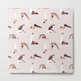 Woman yoga poses international pattern Metal Print