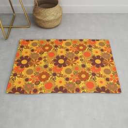 Funky Daisy Floral in Electric Orange Rug