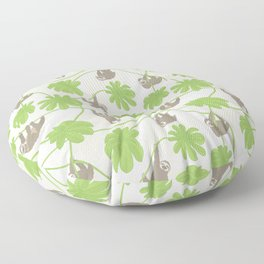 Happy Sloths and Cecropia leaves Floor Pillow