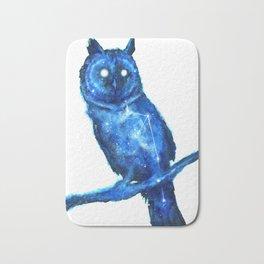 Owl Painting | Space Owl | Owl Constellation | Cosmic Owl | Blue Owl Bath Mat