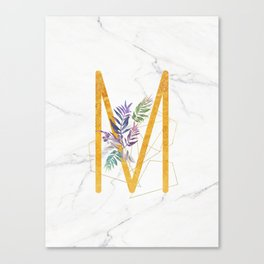 Modern glamorous personalized gold initial letter M, Custom initial name monogram gold alphabet prin Canvas Print