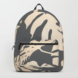 Simply Tropical Palm Leaves White Gold Sands on Storm Gray Backpack