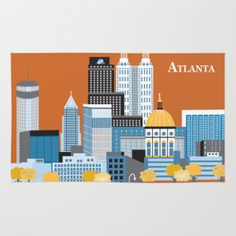 Atlanta, Georgia - Skyline Illustration by Loose Petals Rug
