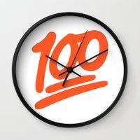 emoji Wall Clocks featuring 100 EMOJI by Nolan Dempsey