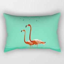 Flamingos on Sea Green Rectangular Pillow