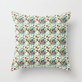 Bohemian modern pink blue green watercolor floral Throw Pillow
