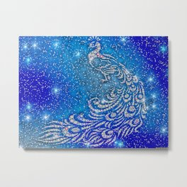Sparkling Blue & White Peacock Metal Print