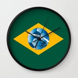 Brazil flag with ball Wall Clock