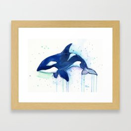 Killer Whale Orca Watercolor Framed Art Print