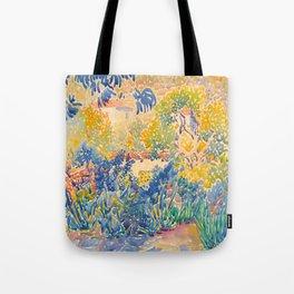Henri-Edmond Cross Neo-Impressionism Pointillism The Artist's Garden at St. Clair Watercolor Paintin Tote Bag
