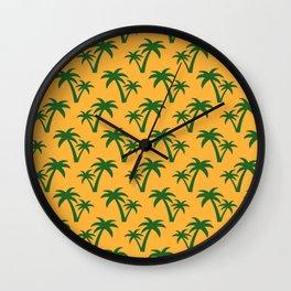 Seamless Palm Trees Pattern Wall Clock