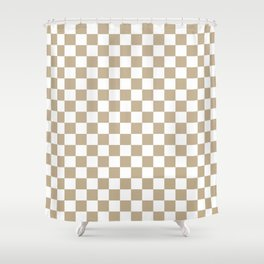 Small Checkered - White and Khaki Brown Shower Curtain