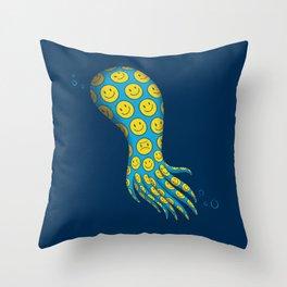 The deceitful smiley face octopus Throw Pillow