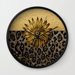 Animal Print Brown and Gold Animal Medallion Wall Clock