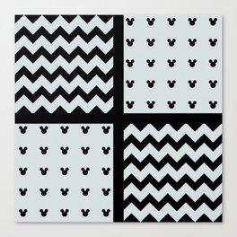 Black/White Chevron/Polka Toon Mouse Ears Pattern Zigzag Fun Canvas Print
