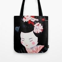 geisha Tote Bags featuring Geisha by Maripili