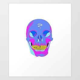 Neon Pixel Psychaedelic Halloween Skull  Art Print
