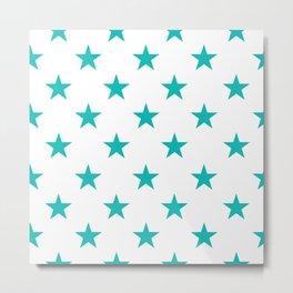 Stars (Tiffany Blue/White) Metal Print