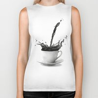 coffee Biker Tanks featuring Coffee by Thubakabra