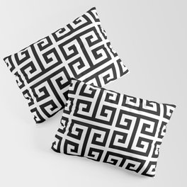 Large Black and White Greek Key Pattern Pillow Sham