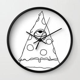 Illuminati Pizza - Swag Pepperoni Confirmed BLACK Wall Clock