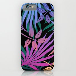 Colorful Rainbow Palm Jungle Leaves iPhone Case