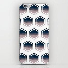 Double Hexagon Landscape In Dark Blue & Pink Beige Tones - Minimalist Nature iPhone Skin