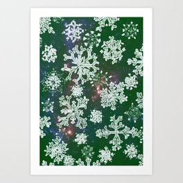 Christmas snowflakes green-special edition 2018 Art Print