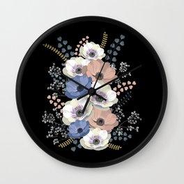 Anemones bouquet in black Wall Clock