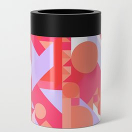 GEOMETRY SHAPES PATTERN PRINT (WARM RED LAVENDER COLOR SCHEME) Can Cooler