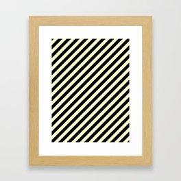 Cream Yellow and Black Diagonal RTL Stripes Framed Art Print