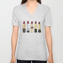 Marsala Lipstick Collection Unisex V-Neck