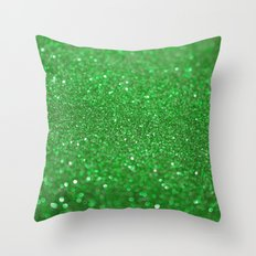 Bright Green Glitter Throw Pillow