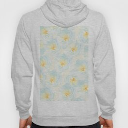 Watercolor hand painted pastel blue yellow floral pattern Hoody