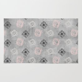 Contemporary Concrete Grid Pattern Rug