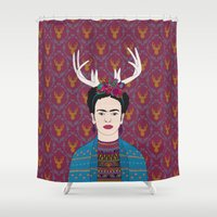 brad pitt Shower Curtains featuring DEER FRIDA by Bianca Green
