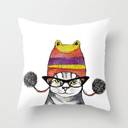 The Cat with Slouch Hat I Throw Pillow