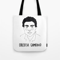 childish gambino Tote Bags featuring Childish Gambino by ☿ cactei ☿