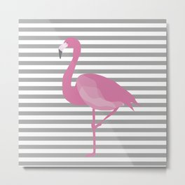 Flamingo Gray Stripes Metal Print
