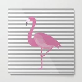Flamingo Gray Stripes Metal Print