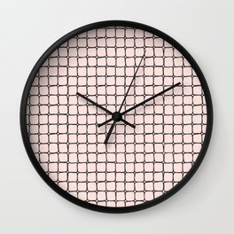 Back to School- Simple Grid Pattern- Black & Pink - Mix & Match with Simplicity of Life Wall Clock
