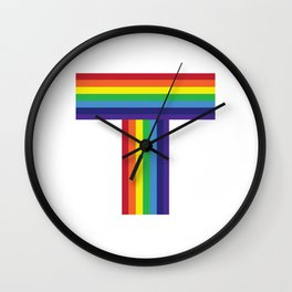Rainbow Monogram Letter T Wall Clock