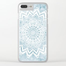 LIGHT BLUE MANDALA SAVANAH Clear iPhone Case