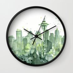 Seattle Watercolor Painting Wall Clock