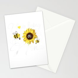 I Love Being A Nona Sunflower And Bee Stationery Cards