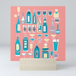Cocktails And Drinks In Aquas and Pinks Mini Art Print