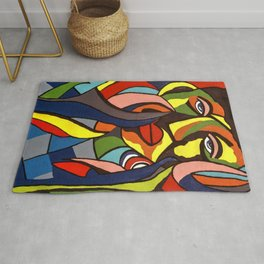 African Traditional Tribal Women Abstract Art Canvas Painting Series - 3 Rug