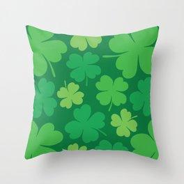 Lucky 4 Leaf Clover Pattern Throw Pillow