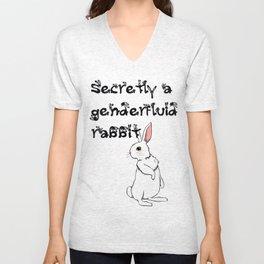 Secretly a genderfluid rabbit Unisex V-Neck