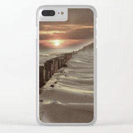 Fort Tilden Beach NYC sunset Clear iPhone Case